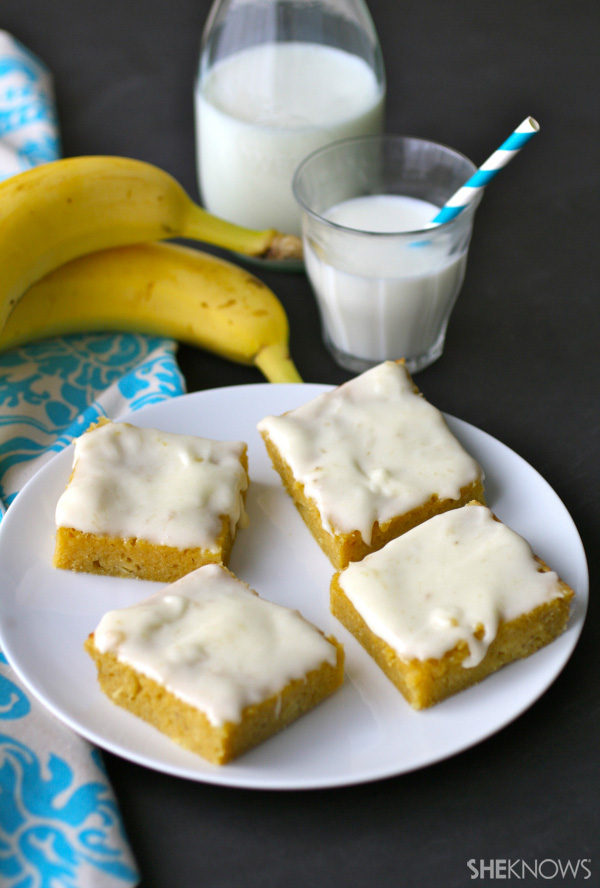 Gluten-free banana squares with banana-cream frosting