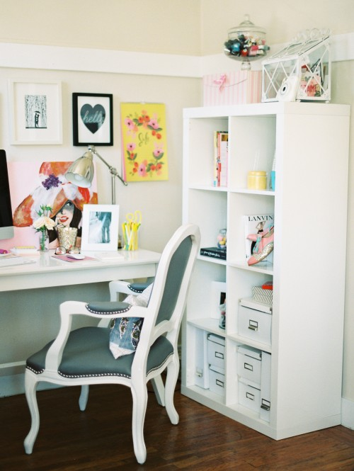 White and pastel colored office