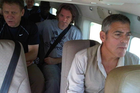 George Clooney flies into the Sudan