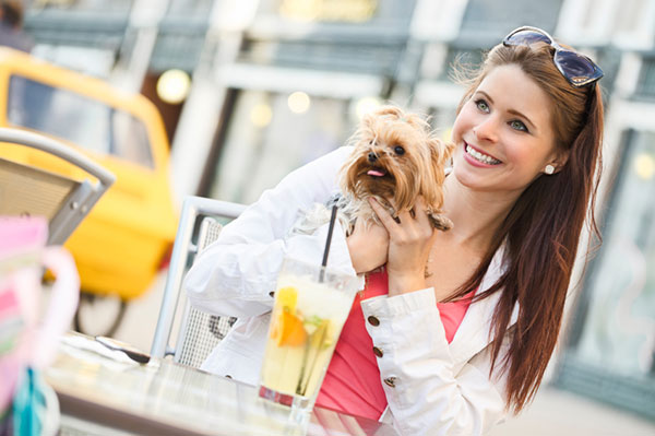 Girl and dog at a restaurant