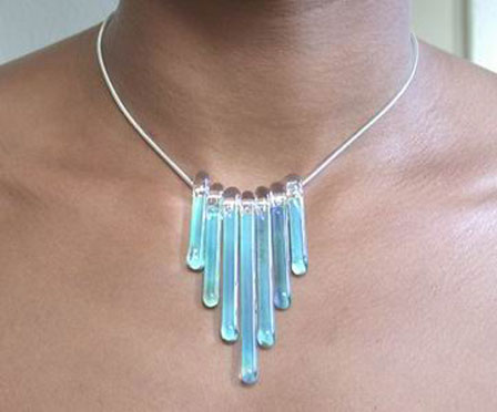 Glass icicle necklace
