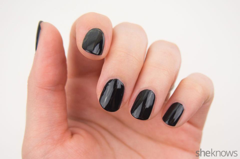Spooky glowing eyes Halloween nail design: Step 1