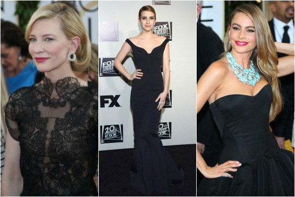 Bold in black at the Golden Globe Awards