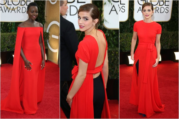 Women in red at the Golden Globe Awards