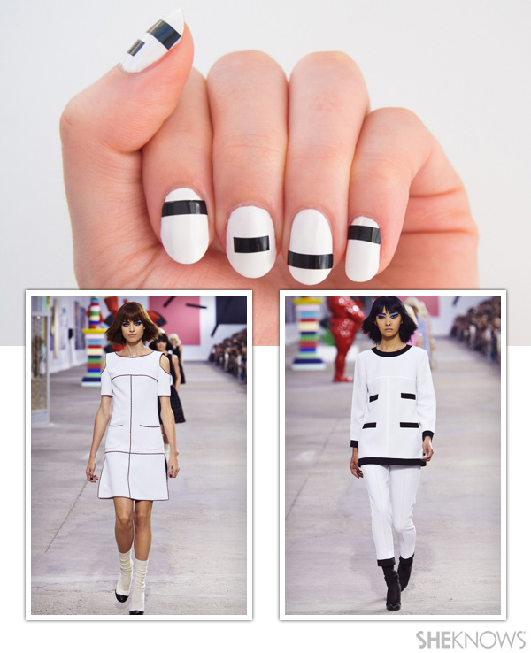 Bold graphic lines nail design