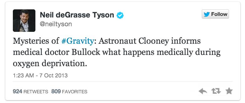 Gravity Tweet Neil deGrasse Tyson | Sheknows.ca