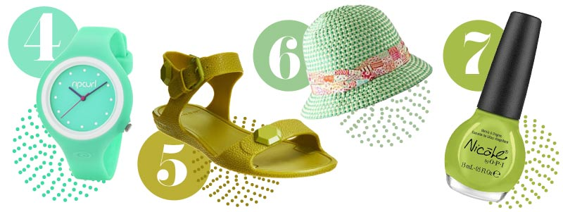 Green accessories: Green watch, green sandals, green hat, green nail polish