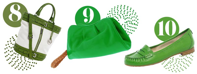 Green accessories for spring: Green tote, green clutch, green loafers
