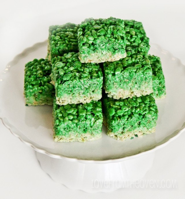 green ombre rice krispies treats