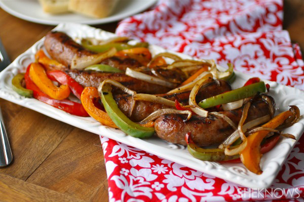 Sunday dinner: Grilled sausage with marinated peppers and onions