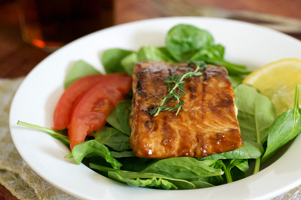 Bourbon and brown sugar grilled salmon salad