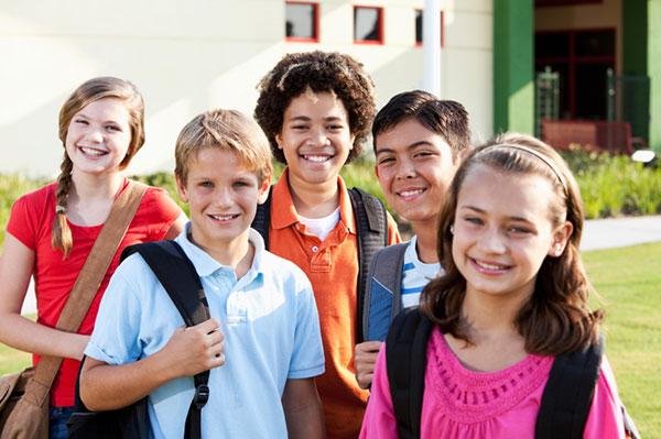Group of school children