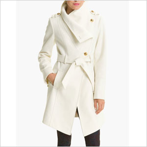 Guess white belted coat