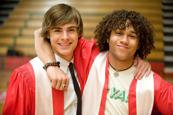 Zac and Corbin have a moment after graduation in High School Musical 3