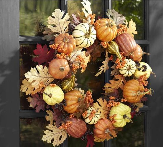 Harvest pumpkin wreath