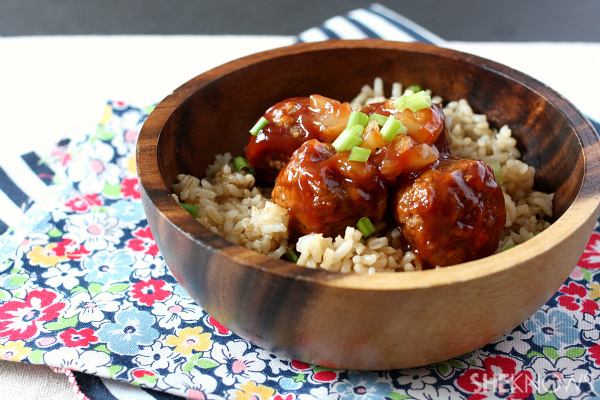 Hawaiian meatballs and rice