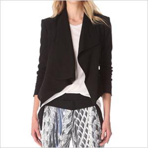 helmut lange black drape blazer