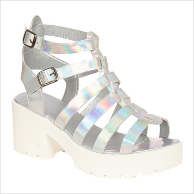Eva Holographic Platform Gladiator Sandals