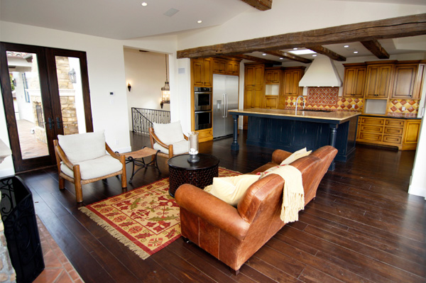 Living area with rustic hardwood floors