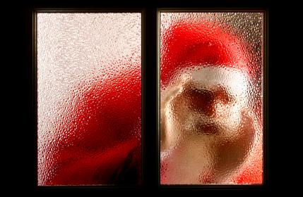 Preventing Break-Ins and Thefts - Santa Peeking In