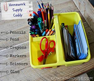 Homework supply caddy