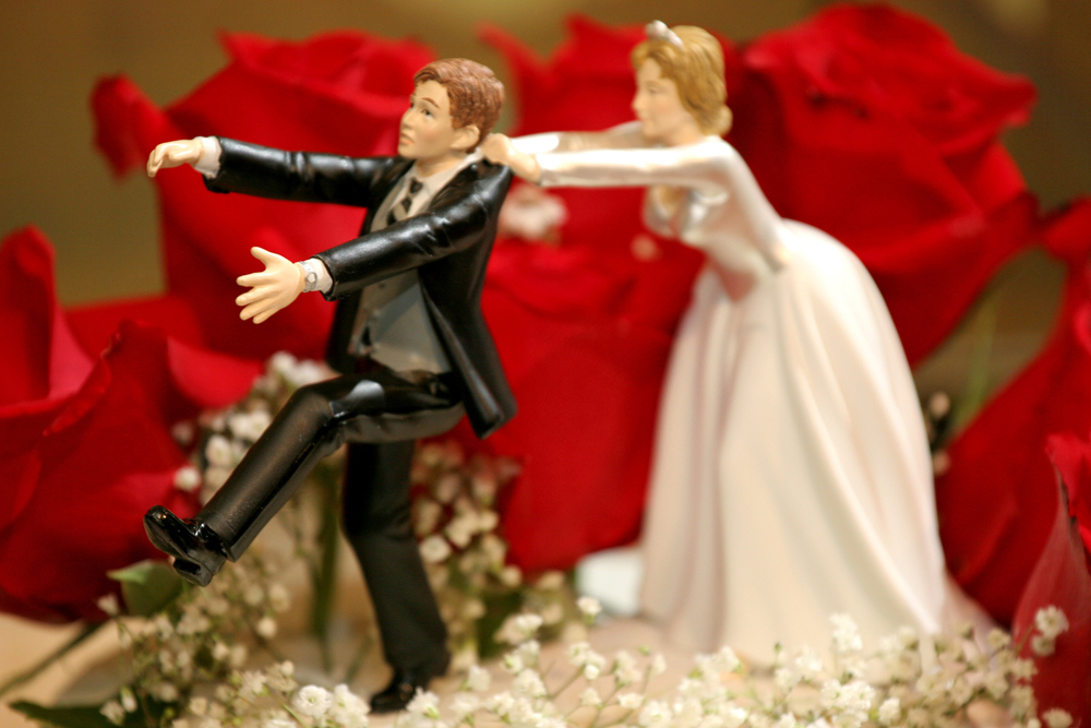 wedding cake topper - bride and groom