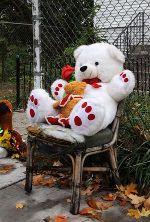 The scene outside Hudson's family home in Chicago