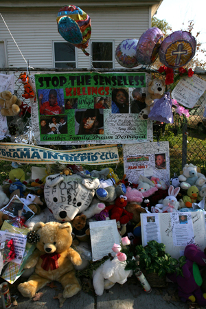 The scene at the Hudson family home in Chicago