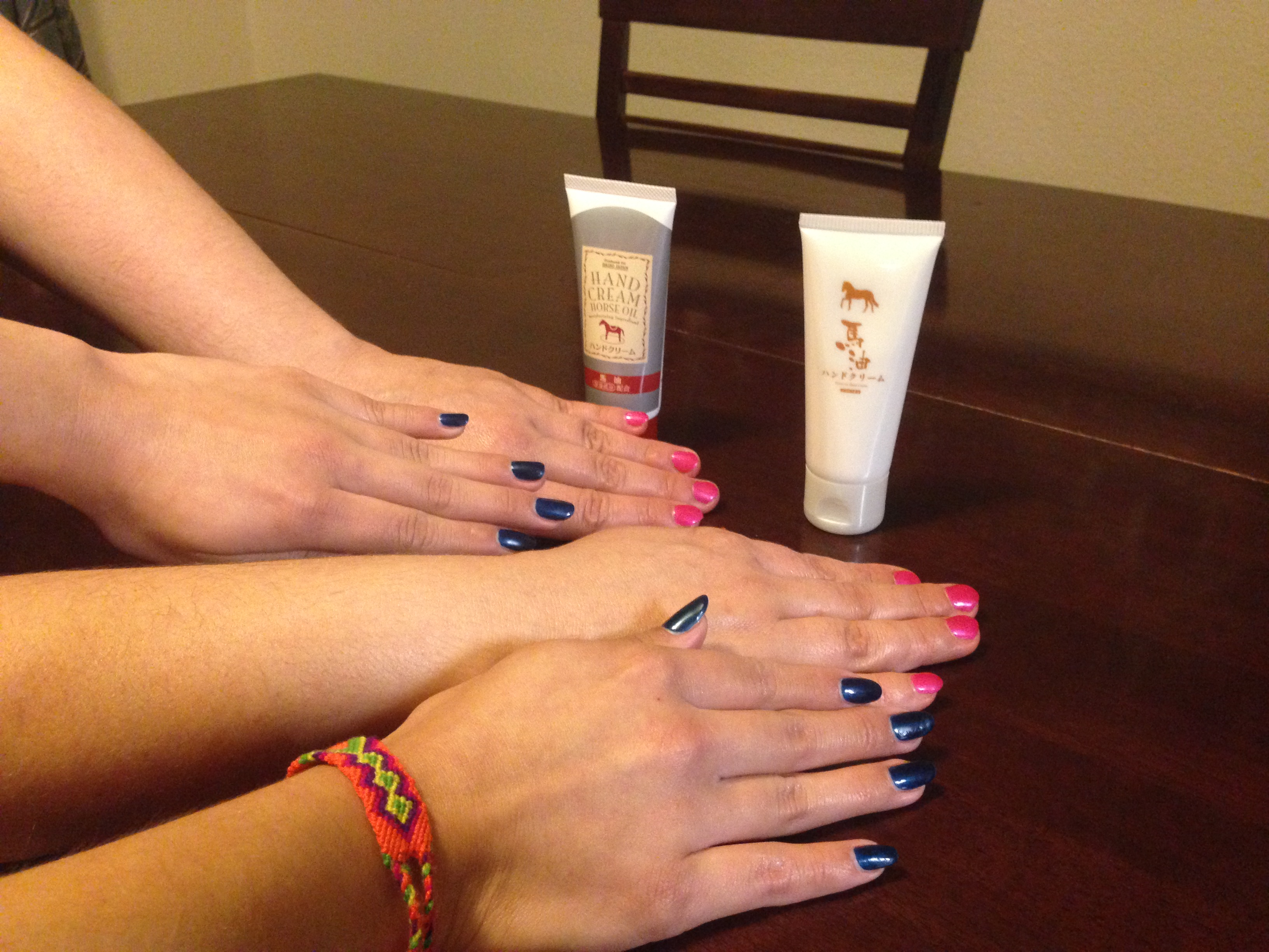 hand models trying horse fat hand cream