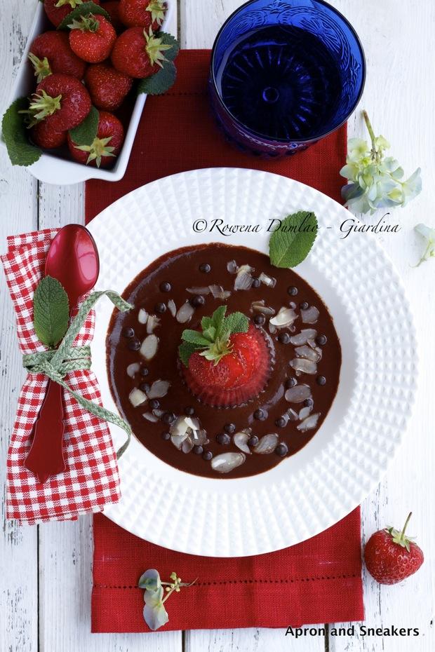 strawberry gelatin with chocolate marsala sauce