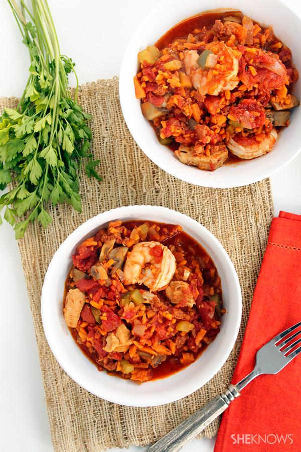 Spicy Chorizo Jambalaya with Sweet Potato Rice