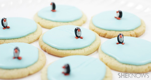 Ice skating penguin cookies