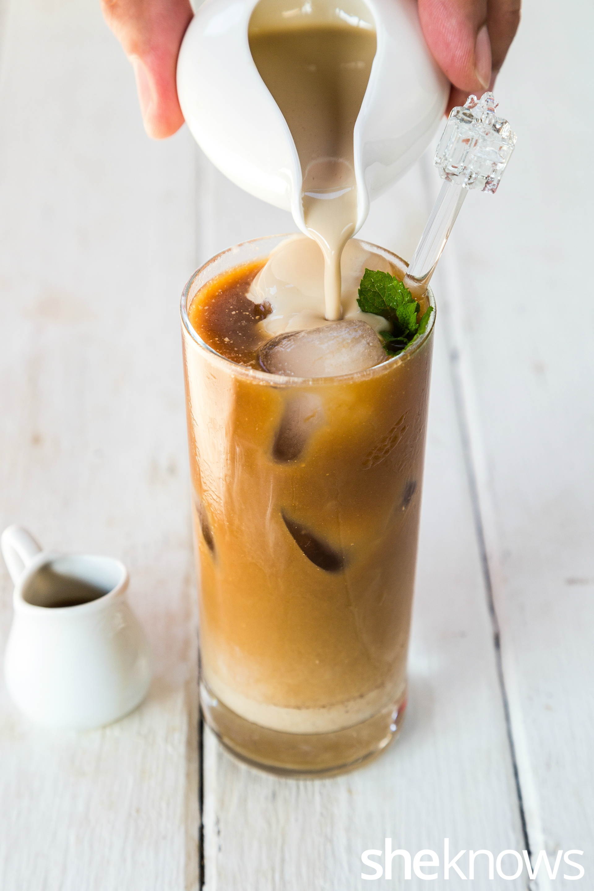 Iced coffee with cream of muscovado coconut milk