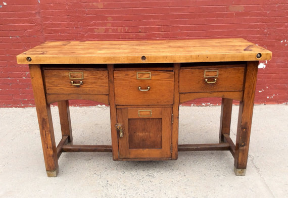 Industrial apothecary-style kitchen island