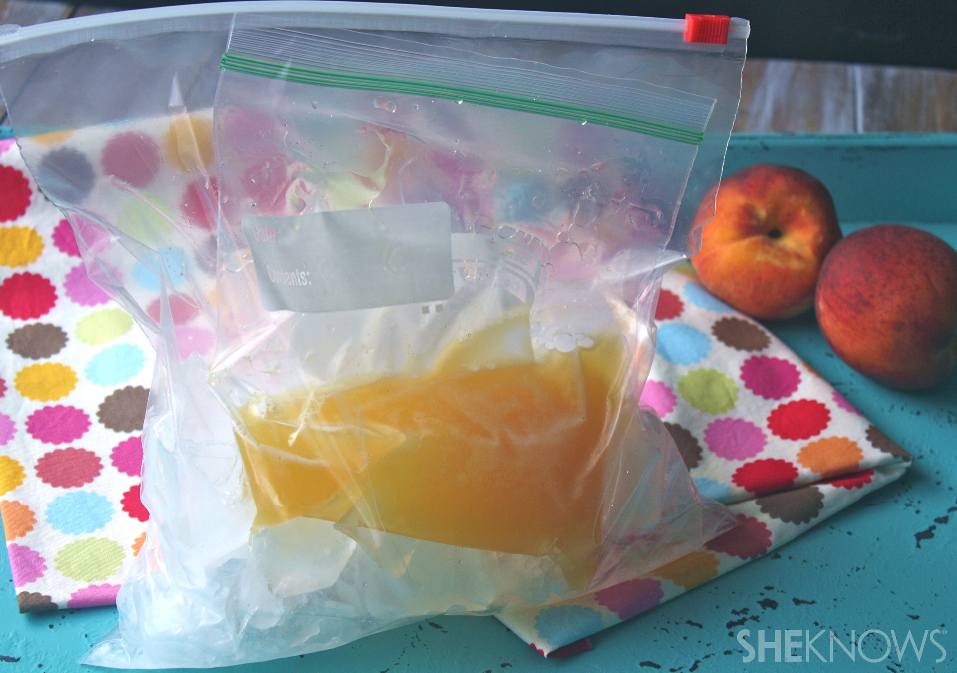 Family fun making sorbet in a bag