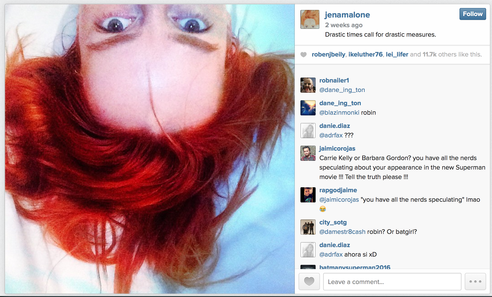 Jena Malone Instagrams new red hair