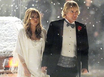 Jennifer and Owen Wilson on Marley and Me's set