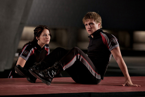 Jennifer Lawrence and Josh Hutcherson in The Hunger Games