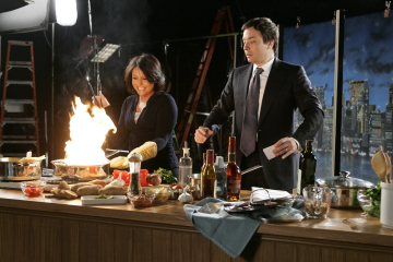 Jimmy Fallon with a hot guest, Rachel Ray