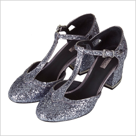 Joyful Glitter T-Bar Mid Heels in Pewter