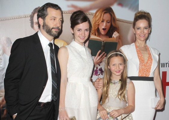 Judd Apatow and Leslie Mann with daughters Maude and Iris