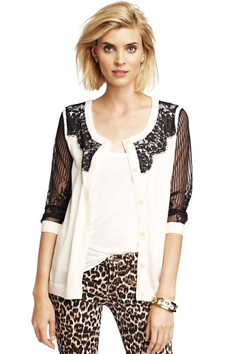 Juicy Couture Lace-Front Cardigan