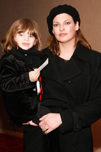 Linda Evangelista and son