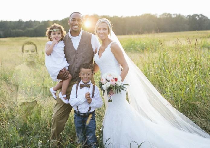 Bride's wedding photos include son who
