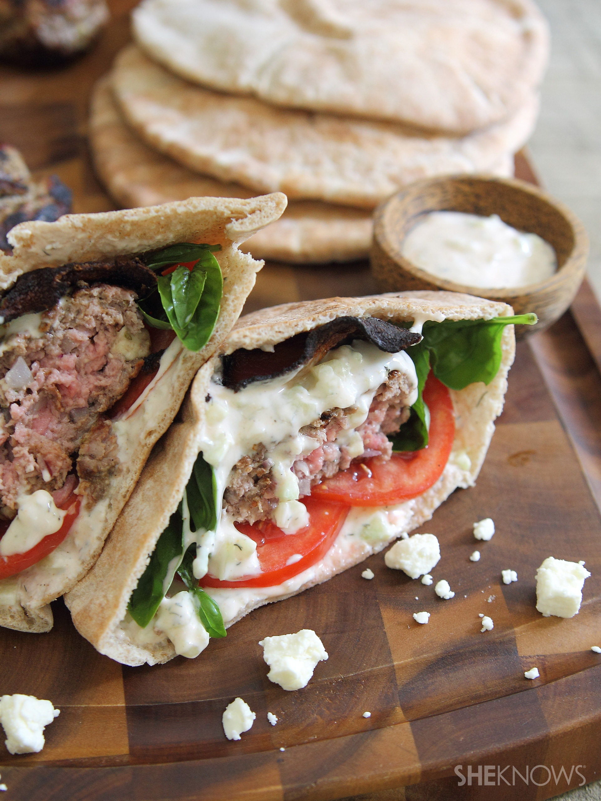 Lamb & bacon pita burgers with spicy tzatziki