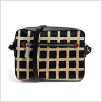 Leather Cross Body Bag With Grid Printed Faux Pony