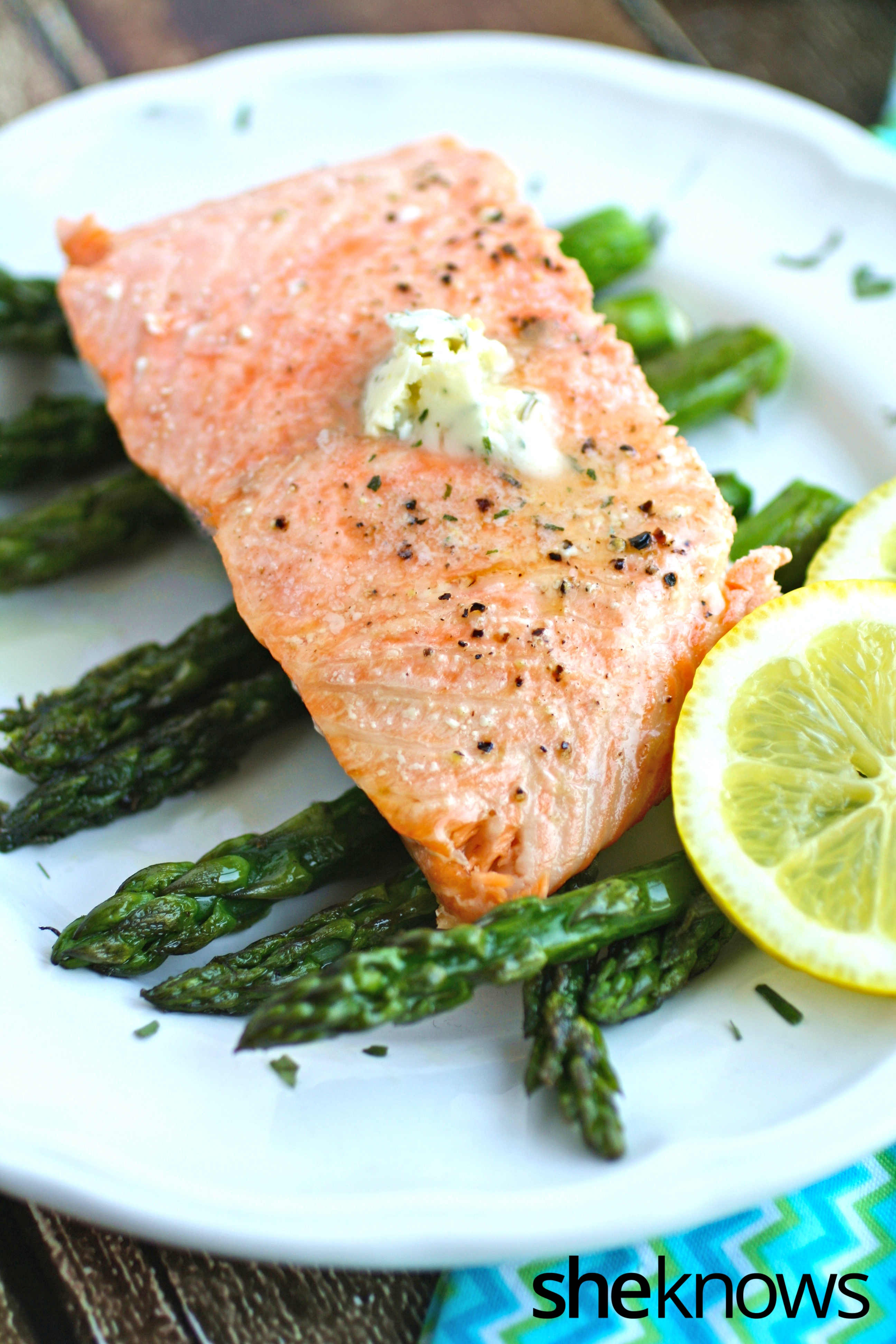 This dish is fabulous! Easy oven-baked salmon with asparagus and lemon-tarragon butter is a delight.
