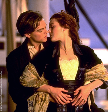 Leonardo DiCaprio and Kate Winslet in a Titanic pose