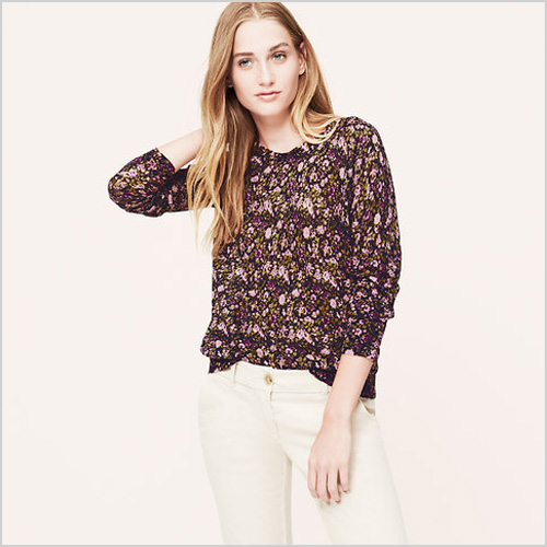 Loft Petite Woodsy Floral Sweater in Blue