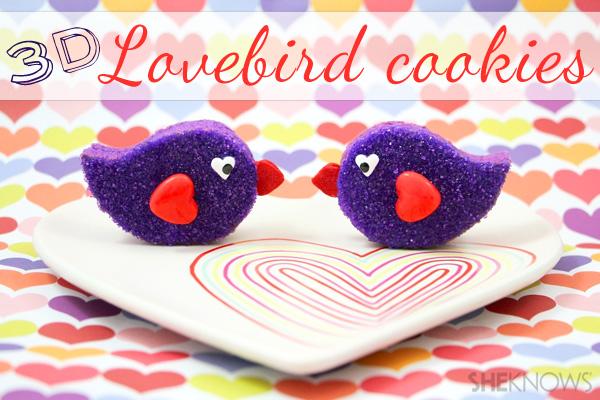 3-D lovebird cookies